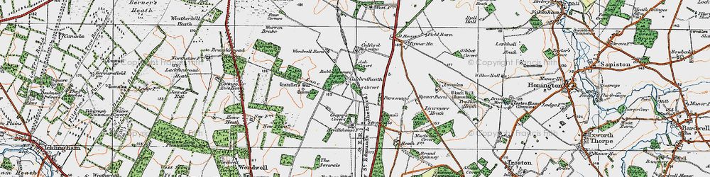 Old map of Wordwell Barn in 1920