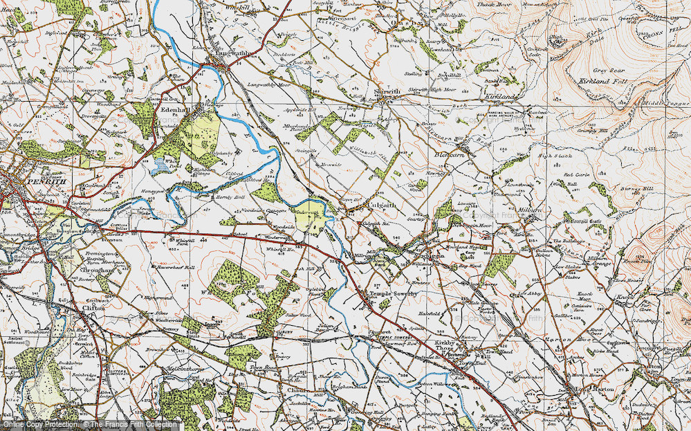 Old Map of Historic Map covering Whinfell Ho in 1925