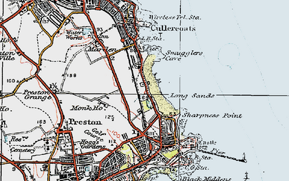 Old map of Cullercoats in 1925
