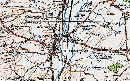 Old map of Cullompton in 1919