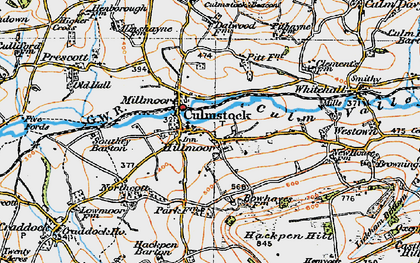 Old map of Culmstock in 1919