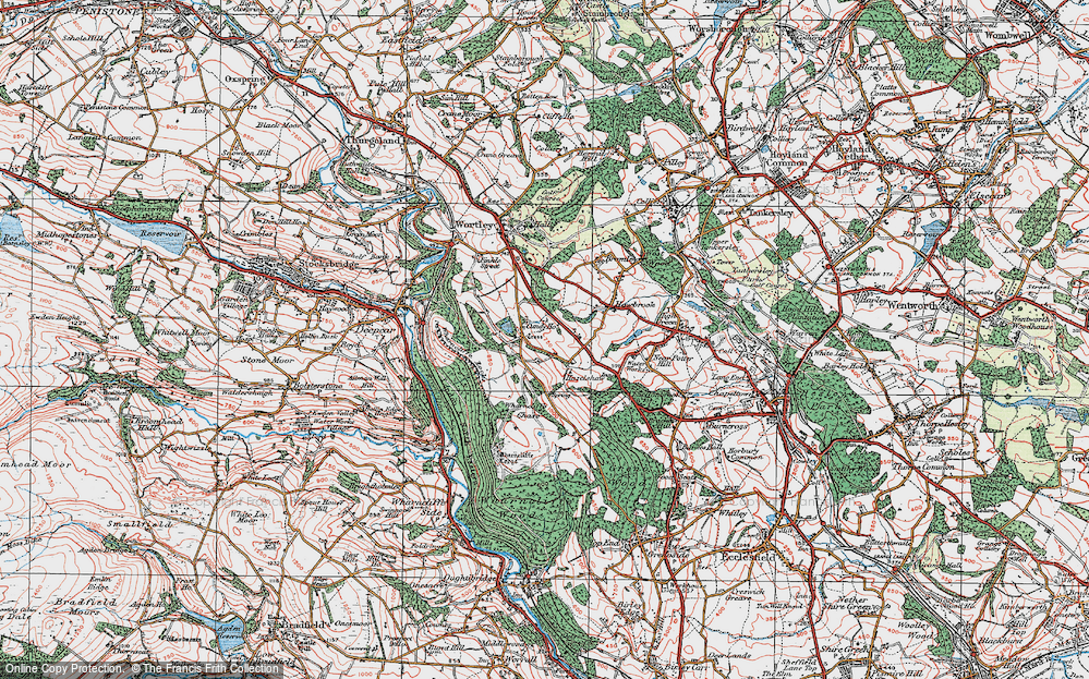Old Map of Historic Map covering Wharncliffe Chase in 1924
