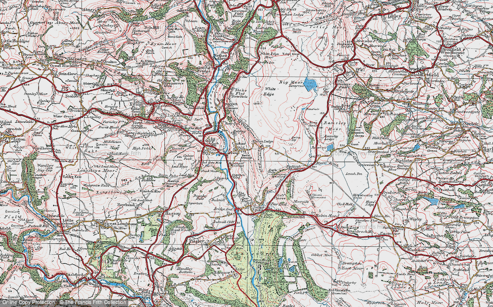 Old Map of Historic Map covering Bar Brook in 1923