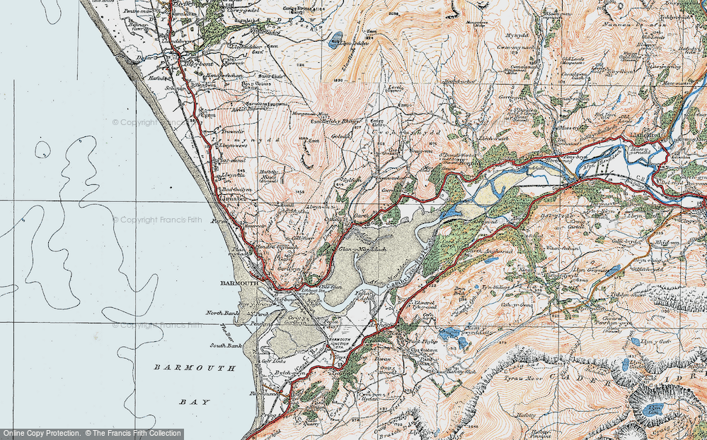 Old Map of Historic Map covering Afon Dwynant in 1922