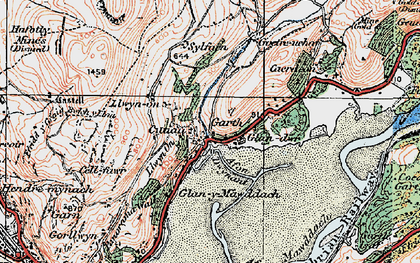 Old map of Afon Dwynant in 1922