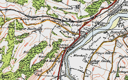 Old map of Wouldham Marshes in 1920