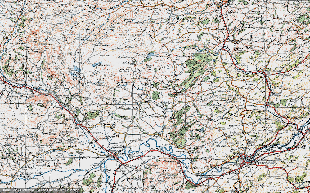 Old Map of Historic Map covering Alltyffynnon in 1921