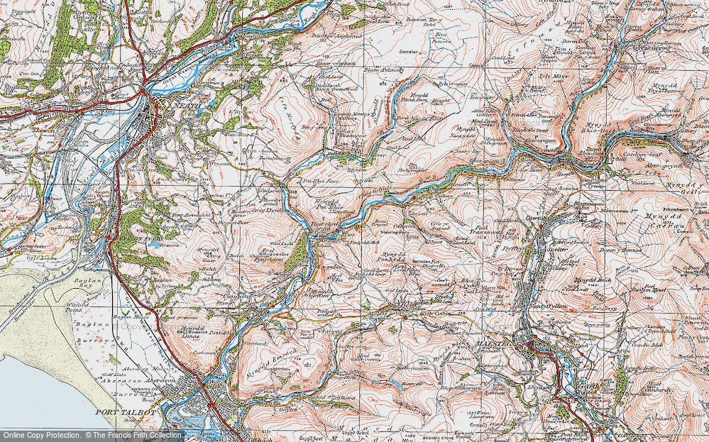 Old Map of Historic Map covering Afan Argoed Forest Park in 1923