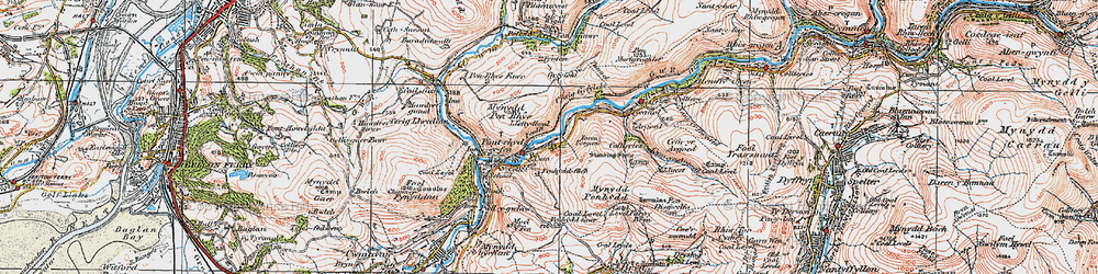 Old map of Afan Argoed Forest Park in 1923