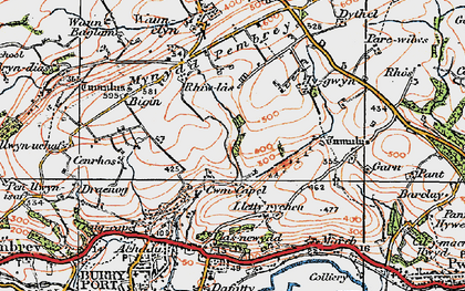 Old map of Cwm Capel in 1923