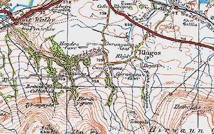 Old map of Y Foel Chwern in 1923