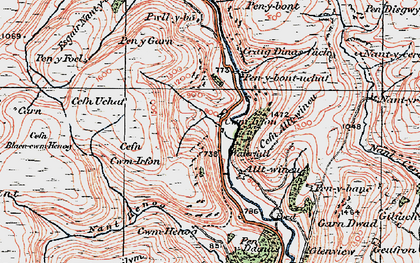 Old map of Alltwineu in 1923