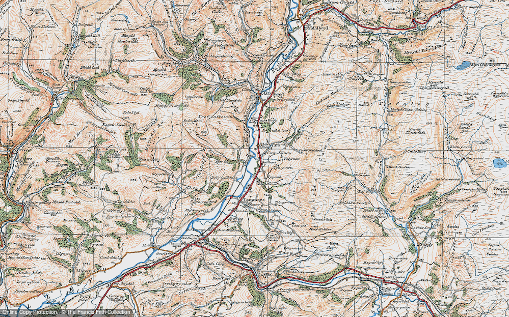 Old Map of Historic Map covering Afon Llinau in 1921