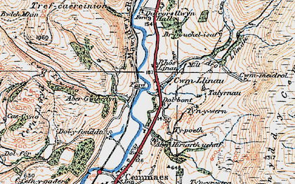 Old map of Cwm-Llinau in 1921