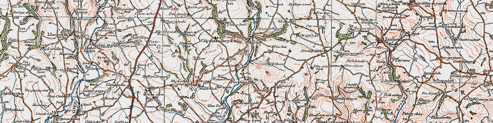 Old map of Afon Taf in 1922