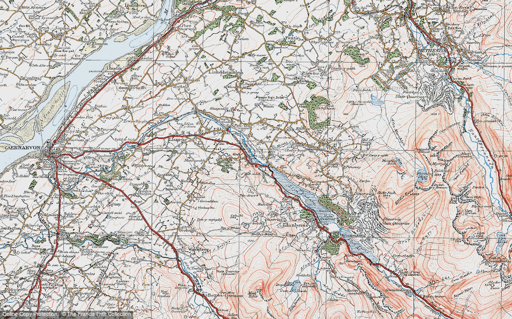 Old Map of Cwm-y-glo, 1922 in 1922