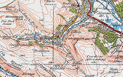Old map of Cwmaman in 1923