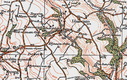 Old map of Afon Sien in 1922