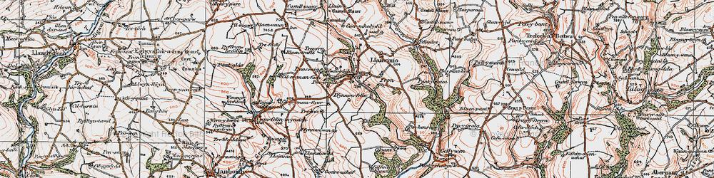 Old map of Afon Sien in 1922