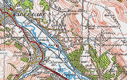 Old map of Cwmbach in 1923