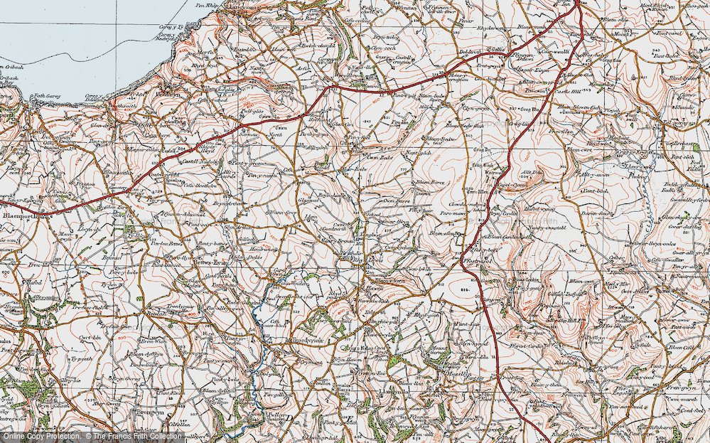 Old Map of Historic Map covering Aberbedw in 1923