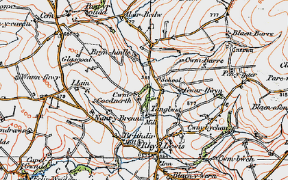 Old map of Aberbedw in 1923