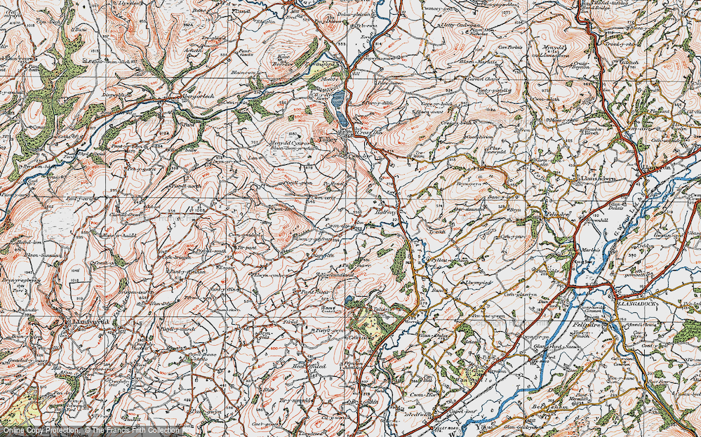 Old Map of Historic Map covering Tirpant in 1923