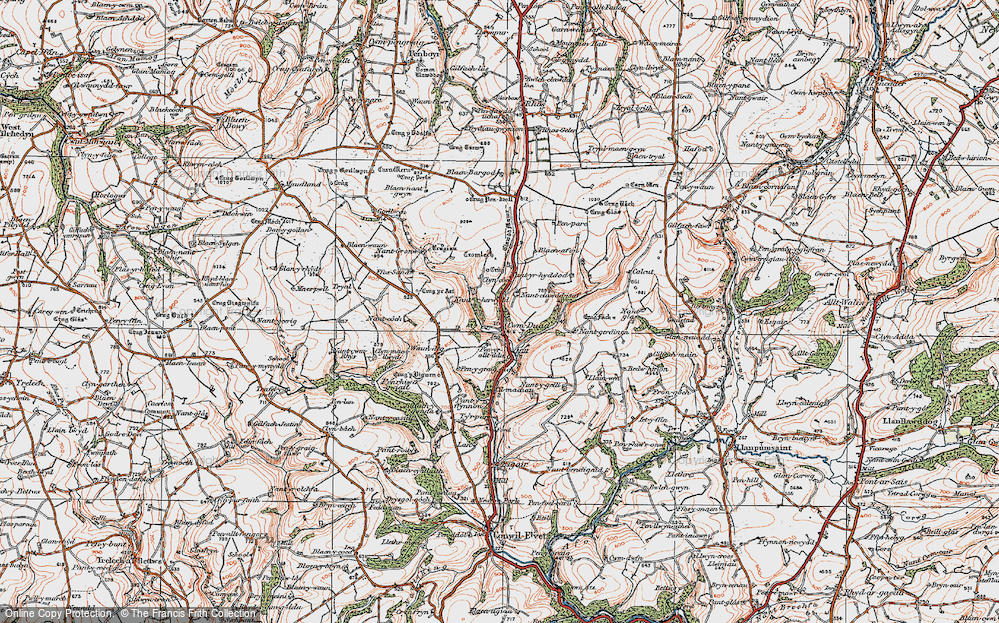 Old Map of Historic Map covering Afon Bele in 1923