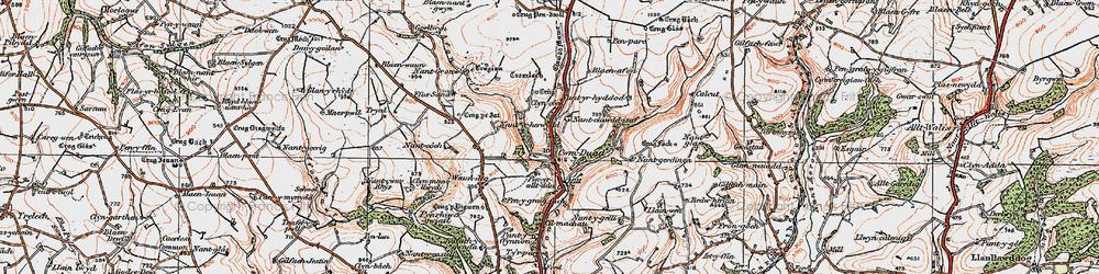 Old map of Afon Bele in 1923