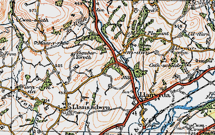Old map of Cwmdwr in 1923