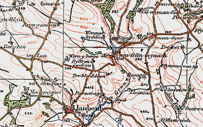 Old map of Cwmfelin Mynach in 1922