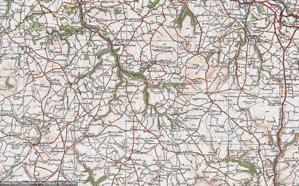 Old Map of Historic Map covering Afon Sylgen in 1923
