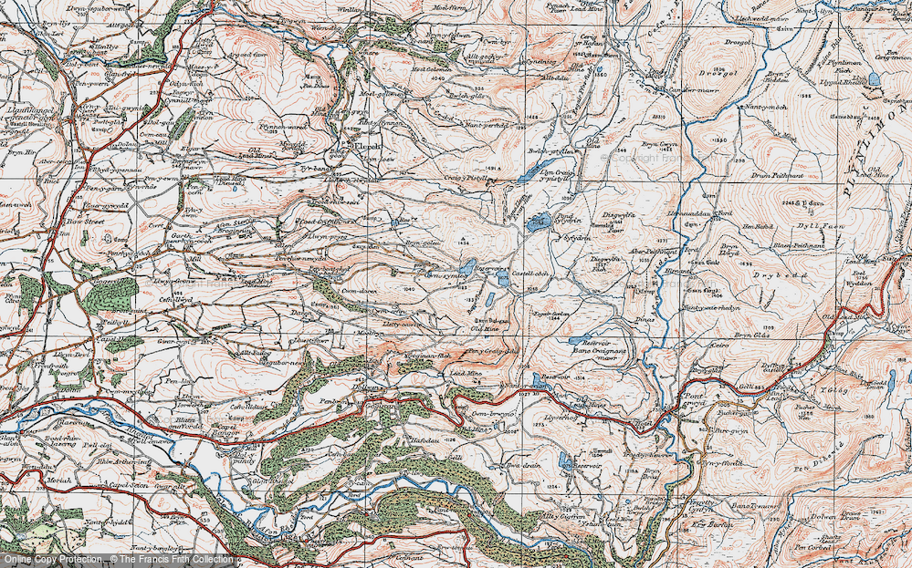 Old Map of Historic Map covering Banc Llety Ifan Hen in 1922