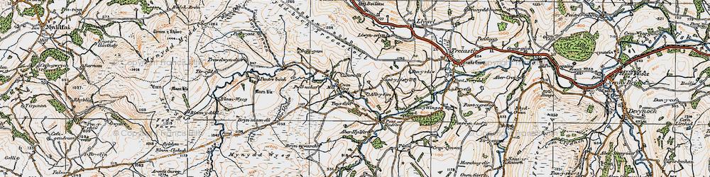 Old map of Aberhydfer in 1923