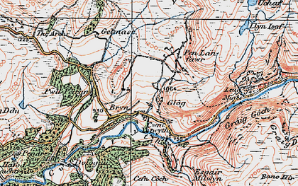 Old map of Allt Dihanog in 1922