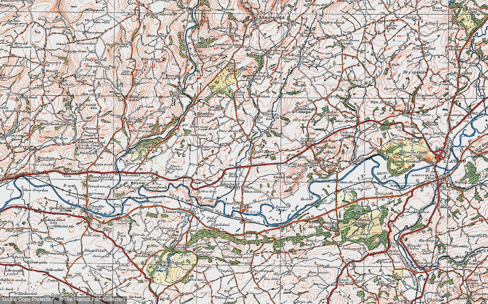 Old Map of Historic Map covering Abersannan in 1923