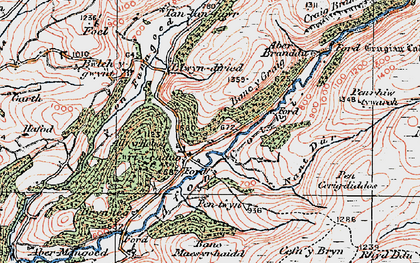 Old map of Aber Branddu in 1923