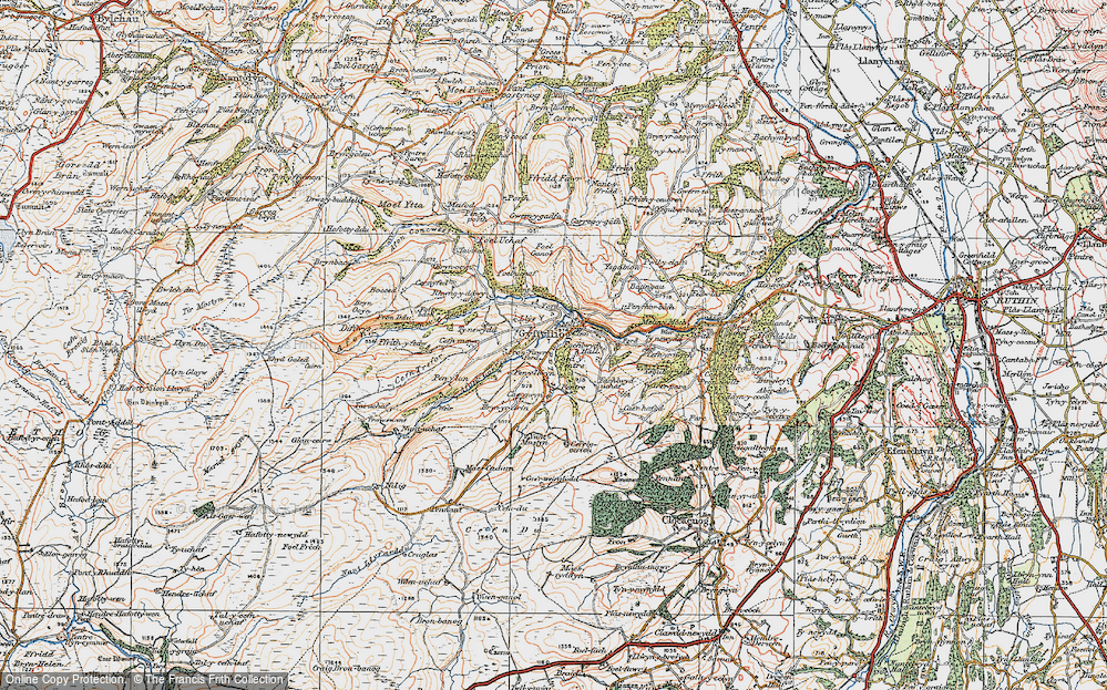 Old Map of Historic Map covering Afon Corris in 1922