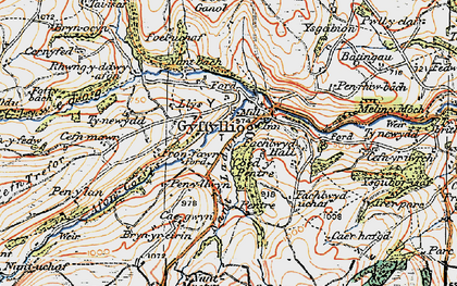 Old map of Cyffylliog in 1922
