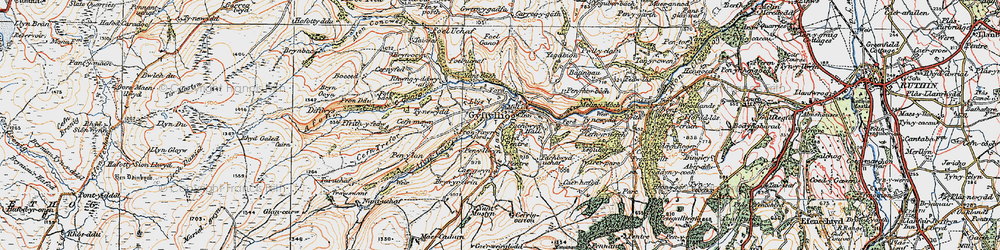 Old map of Afon Corris in 1922