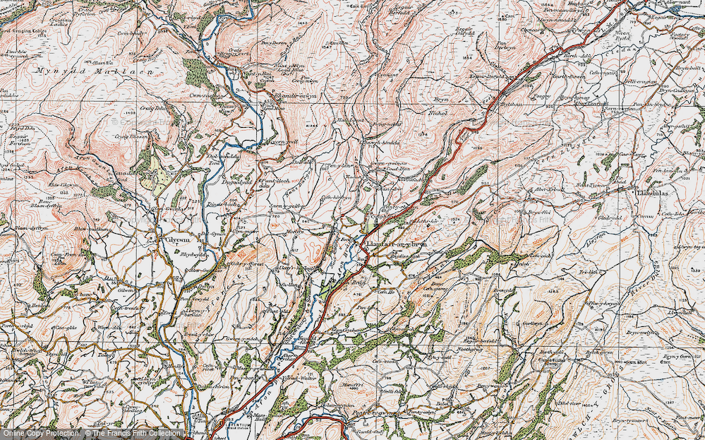 Old Map of Historic Map covering Banc Cefngarreg in 1923