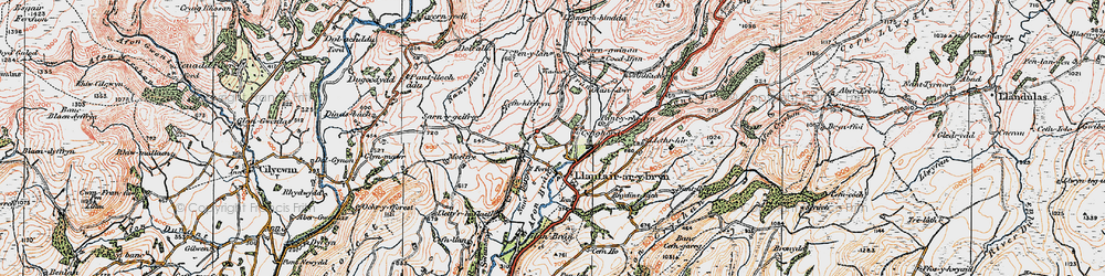 Old map of Afon Crychan in 1923