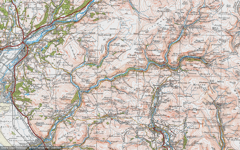 Old Map of Historic Map covering Afon Afan in 1923