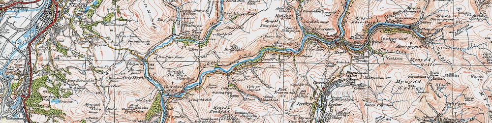 Old map of Afon Afan in 1923
