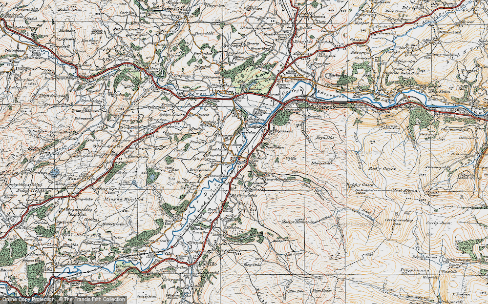 Old Map of Historic Map covering Afon Trystion in 1922
