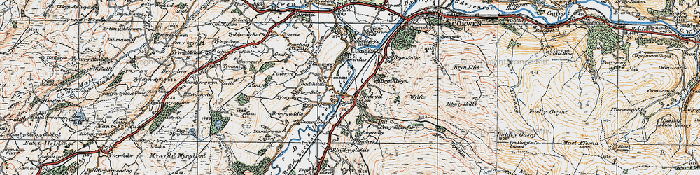 Old map of Cynwyd in 1922