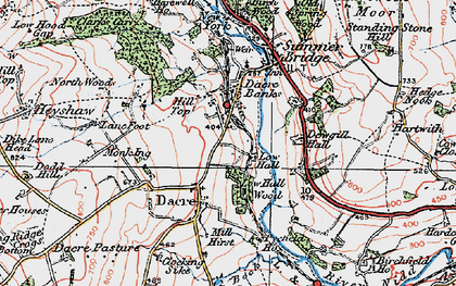 Old map of Dacre Banks in 1925
