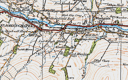 Old map of Daddry Shield in 1925