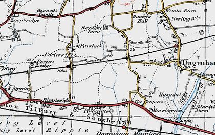 Old map of Dagenham in 1920