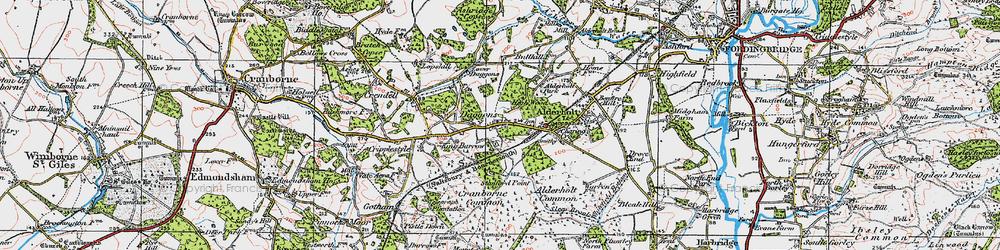Old map of Alderholt Park in 1919